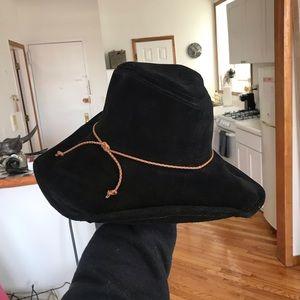 Black suede floppy hat